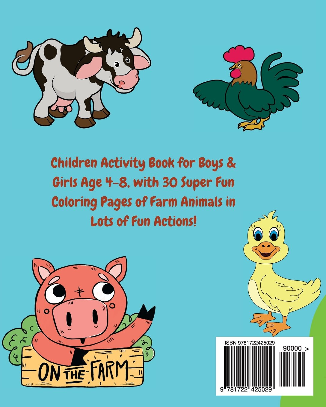 Farm Animals Kids Coloring Book +Fun Facts about Animals on the Farm ...