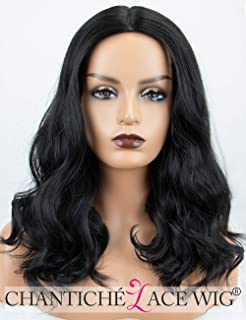 Chantiche Affordable Shoulder Length Black Wig Natural Looking Wavy  Synthetic Wigs uk Machine Made for Women b03dd7098