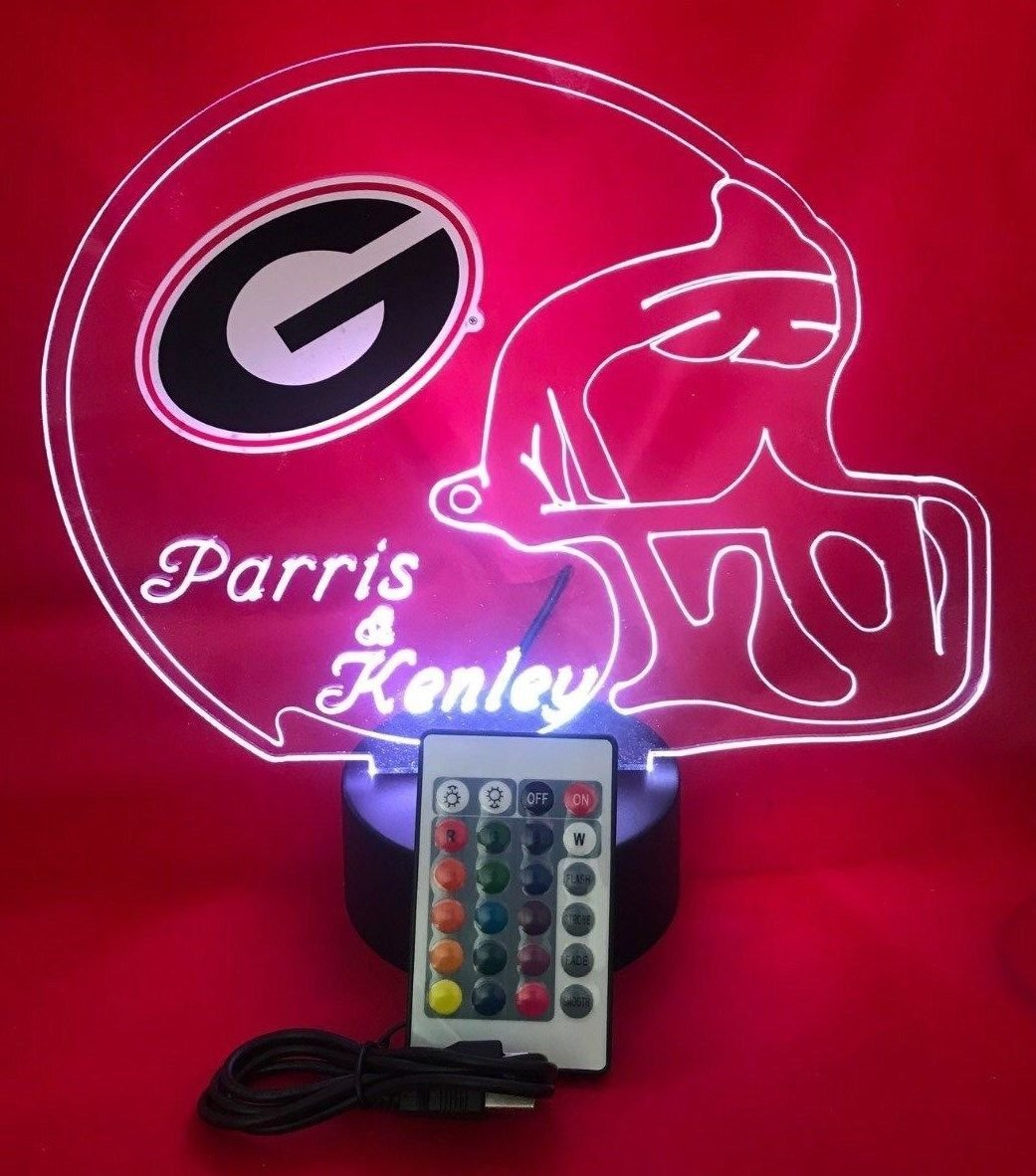 Georgia Bulldogs NCAA College Football Light Up Lamp LED University of Georgia Desk Table Lamp, Our Newest Feature – It s Wow, Comes with Remote, 16 Color Options, Dimmer, Free Engraving, Great Gift