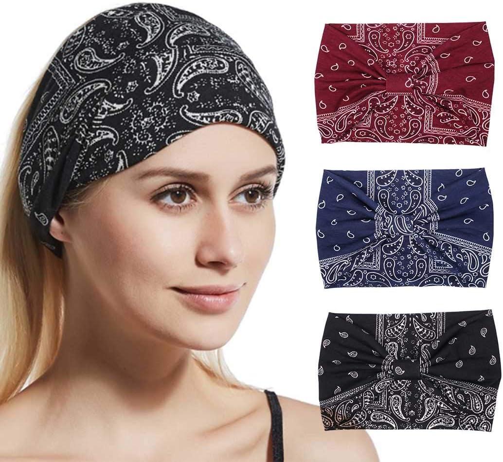 Zoestar Boho - Diademas de yoga con diseño de turbante ancho para la cabeza, estilo vintage, para mujer, 3 unidades