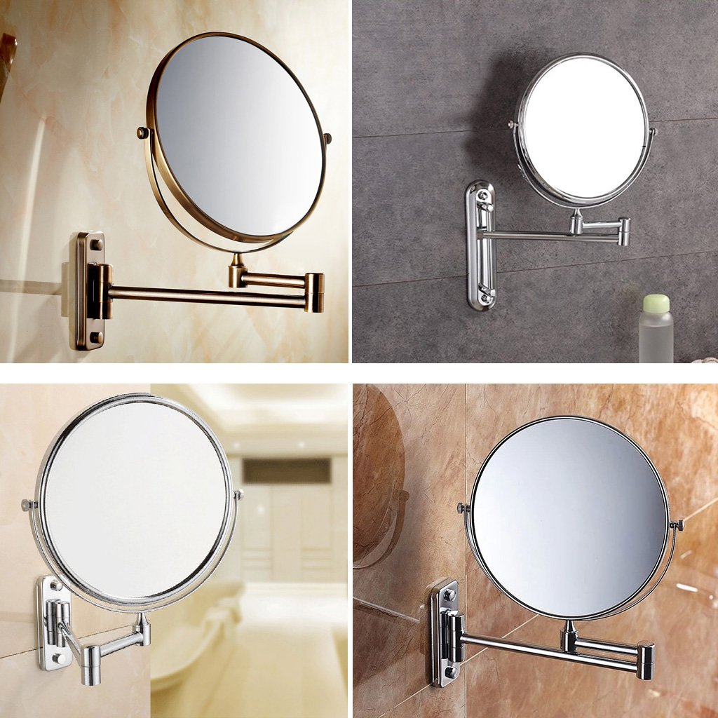 Folding bathroom mirror - 8 Inch Wall Mounted Shaving Mirror Extending Folding Double Side Cosmetic Make Up 5xmagnification Bathroom Makeup Mirror Amazon Co Uk Diy Tools