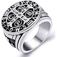 enhong St Benedict Exorcism Ring for Men Stainless Steel Catholic Roman Cross Demon Protection Ghost Hunter
