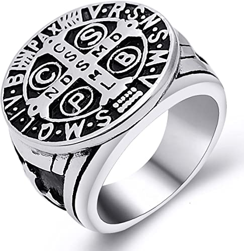 Mens Catholic St Saint Benedict Cross Ring Stainless Steel Exorcism Medal Silver