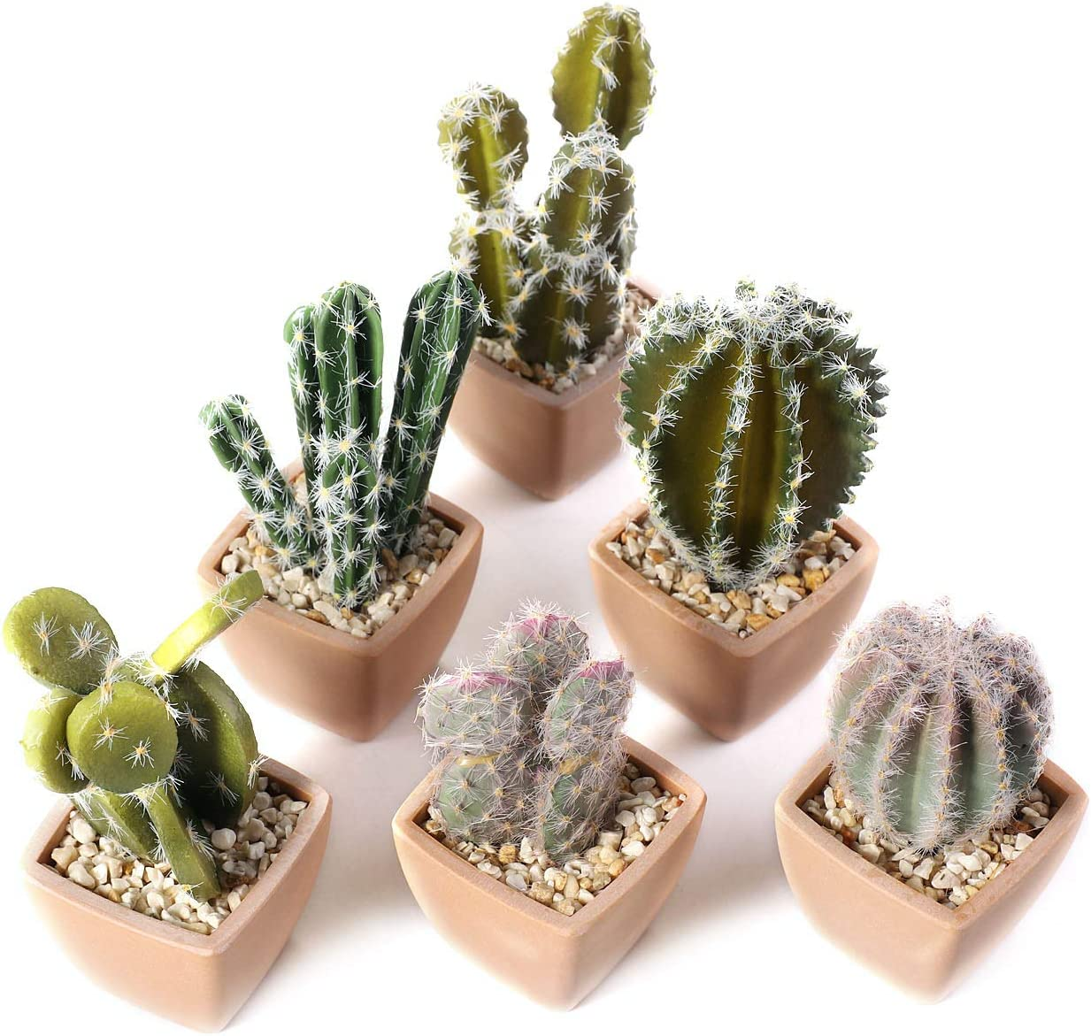 T4U Assorted Artificial Succulent Potted Plants Decorative Plastic Faux Cactus with Pots, Pack of 6