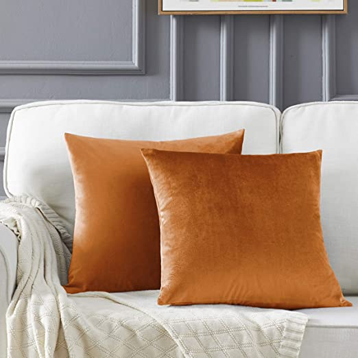 Orange Solid Colour Double Sided Velvet Look Soft Pillow Cushion Cover 45 cm