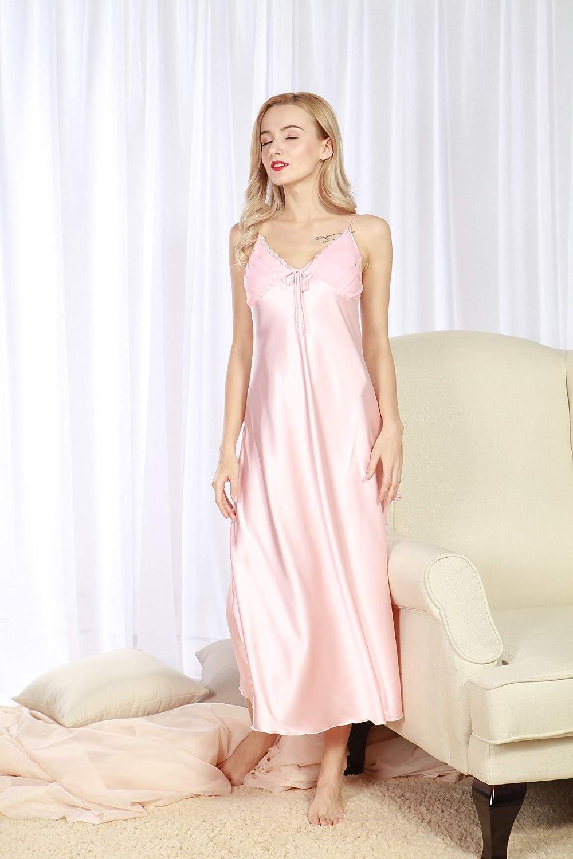 Womens Ladies Long Satin Nightdress Nightie Deep Lace Trimmed Plus Size Nightwear Sleepwear