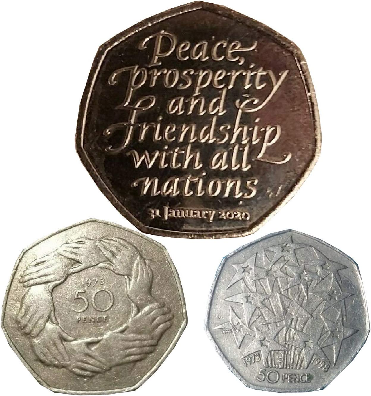 Fev S Brexit Triple 50p Deal Three Authentic 50p Coins 1973 Hands The Rare 1998 Presidency And The 31st January 2020 Coin Amazon Co Uk Toys Games