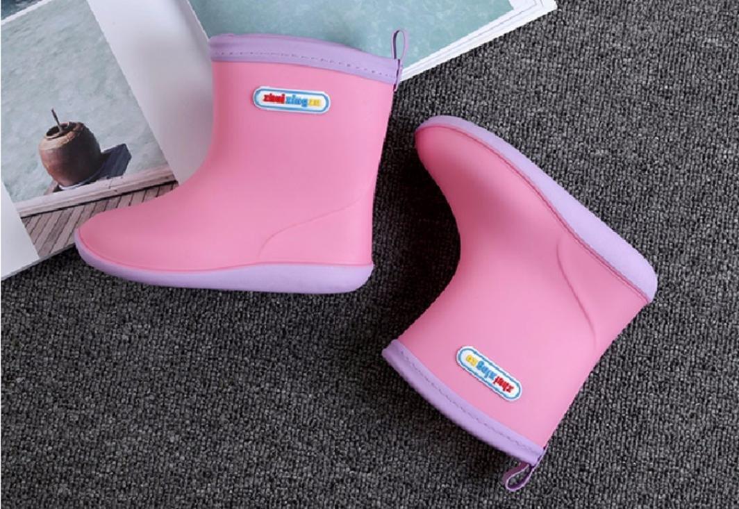 Waterproof Child Rubber Rainy Boots 2.5~6T Pink, US:8.0 Age:2.5-3T Weiyun Unisex Baby Kids Girls Boys Anti-Slip Warm Soild Infant Cute Rain Shoes