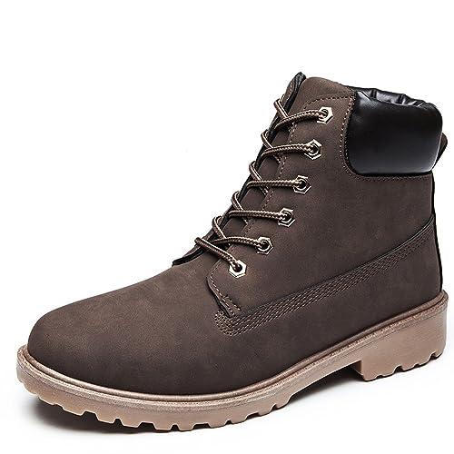 ukStore Damen Herren Worker Boots Schnür Stiefeletten Herbst
