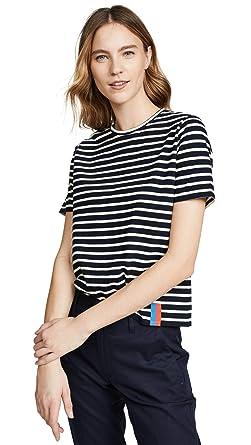 1b2ce094 KULE Women's Modern Tee, Navy/Cream, Blue, Stripe, X-Small at Amazon ...