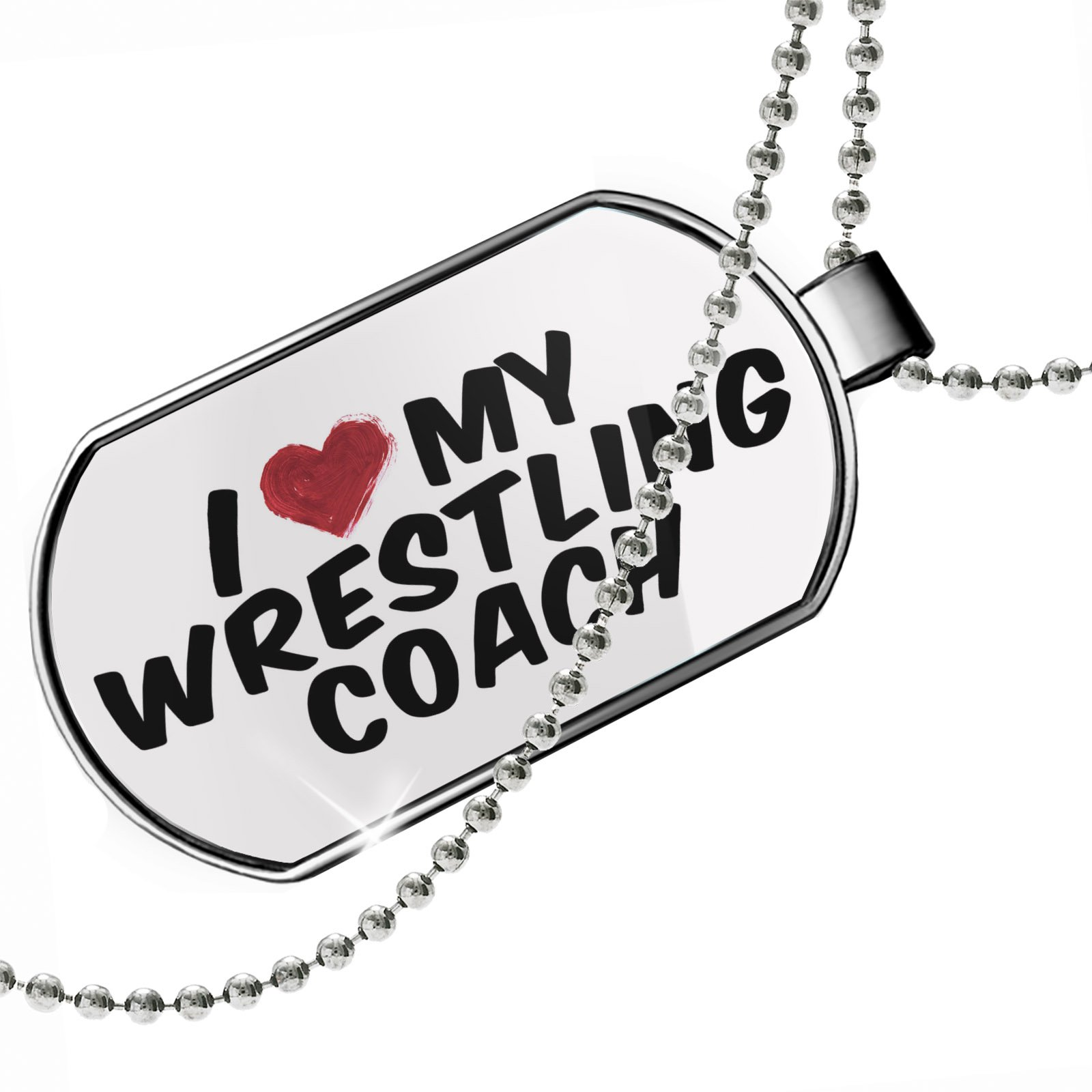Dogtag I heart love my Wrestling Coach Dog tags necklace - Neonblond