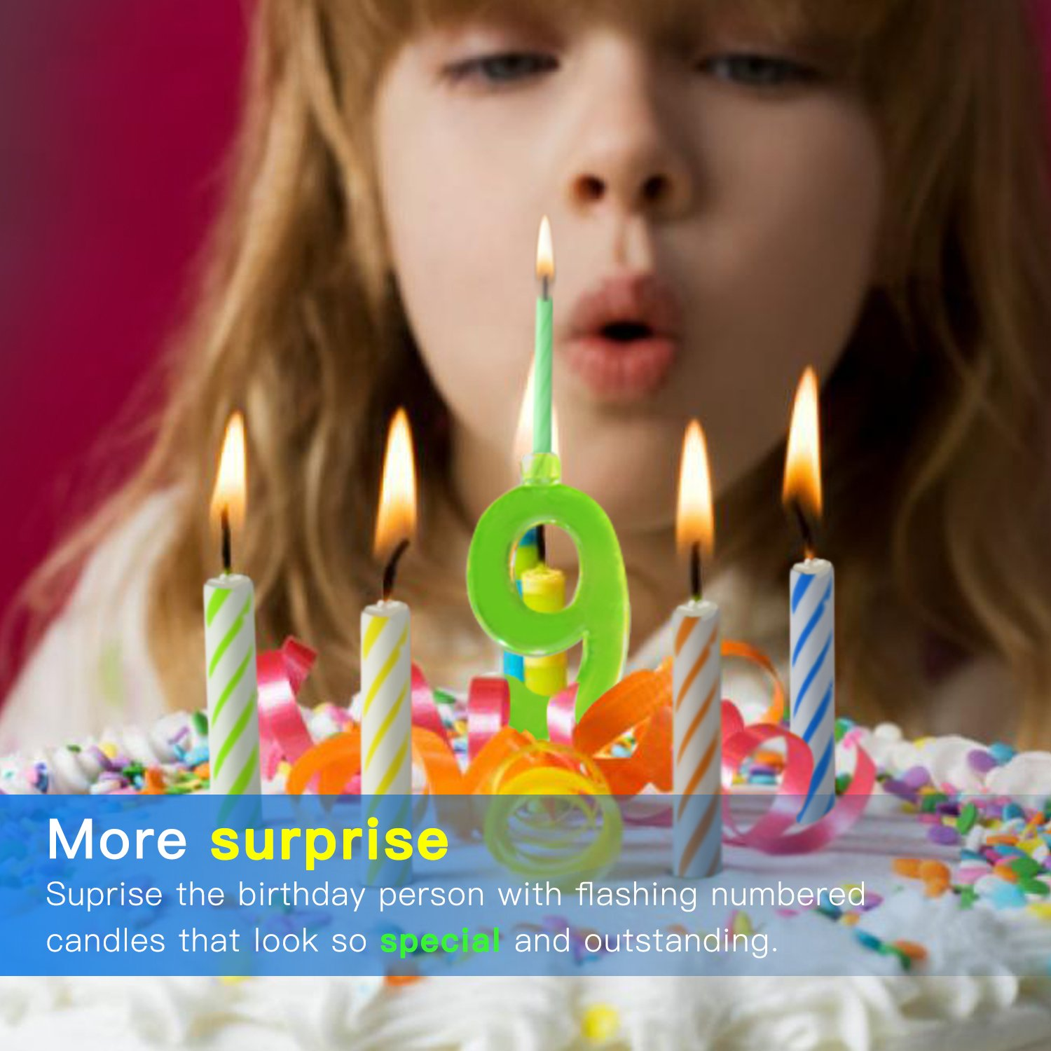 Novelty Place Multicolor Flashing Number Candle Set Color Changing LED Birthday Cake Topper With 4 Wax Candles