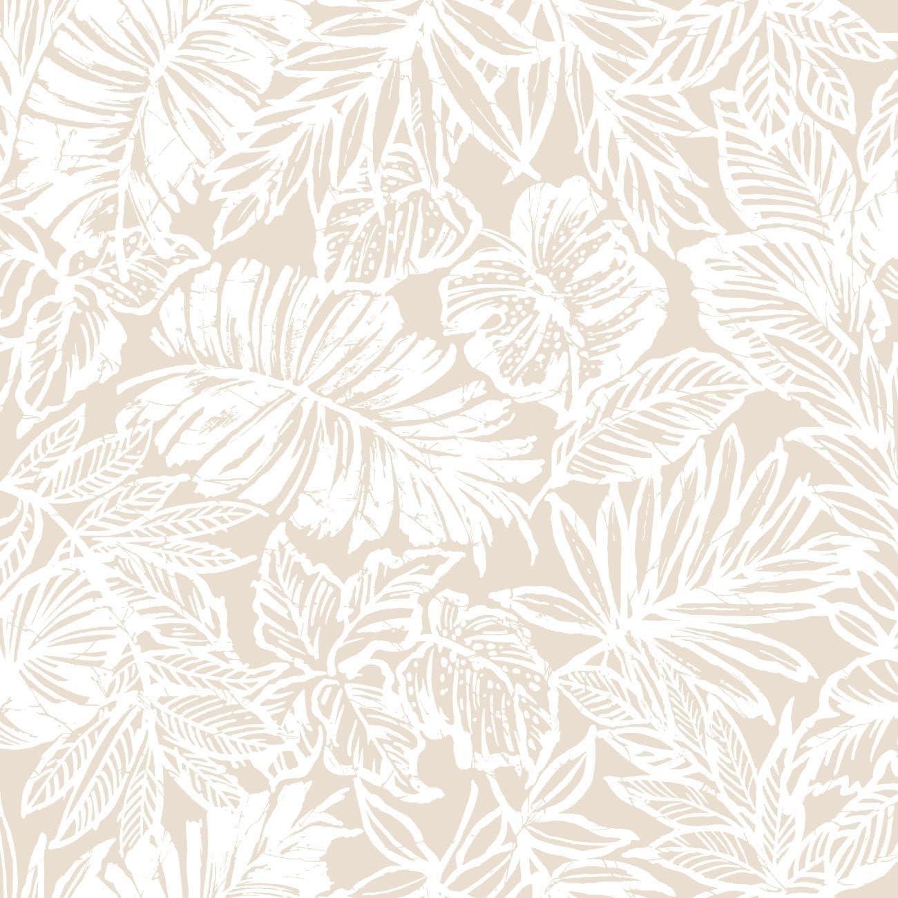 Amazon Com Roommates Tan Tropical Leaf Peel And Stick Wallpaper