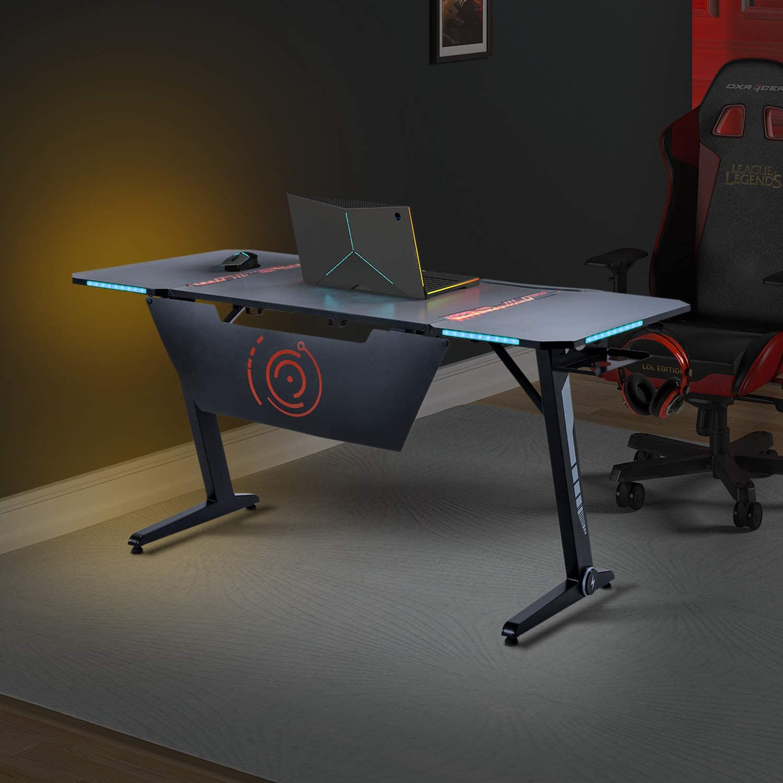 Home Office Gaming Desk Pro- Z Shaped PC Computer Table for Gamer Pro, Gaming Desks Workstation with RGB LED Lights,Headphone Hook and Adjustable Pads,Black