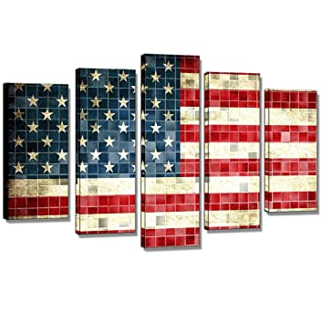 SmartWallArt-5 Panels American Flag of United States Wall Painting for Wall,USA Flag