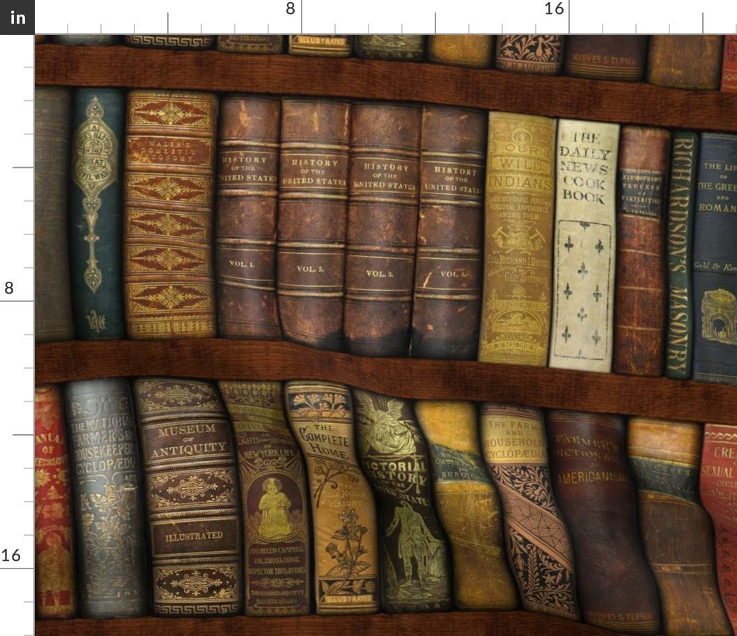 Spoonflower Fabric - Library Shelves Photographic Victorian Old World Books Literary Book Printed on Petal Signature Cotton Fabric by The Yard - Sewing Quilting Apparel Crafts Decor