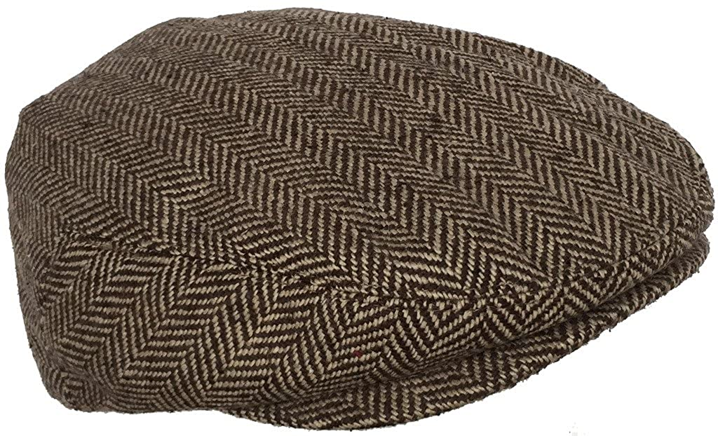 Wool Blend Herringbone Winter Ivy Scally Cap Flat Driver Hat 5 Point Newsboy