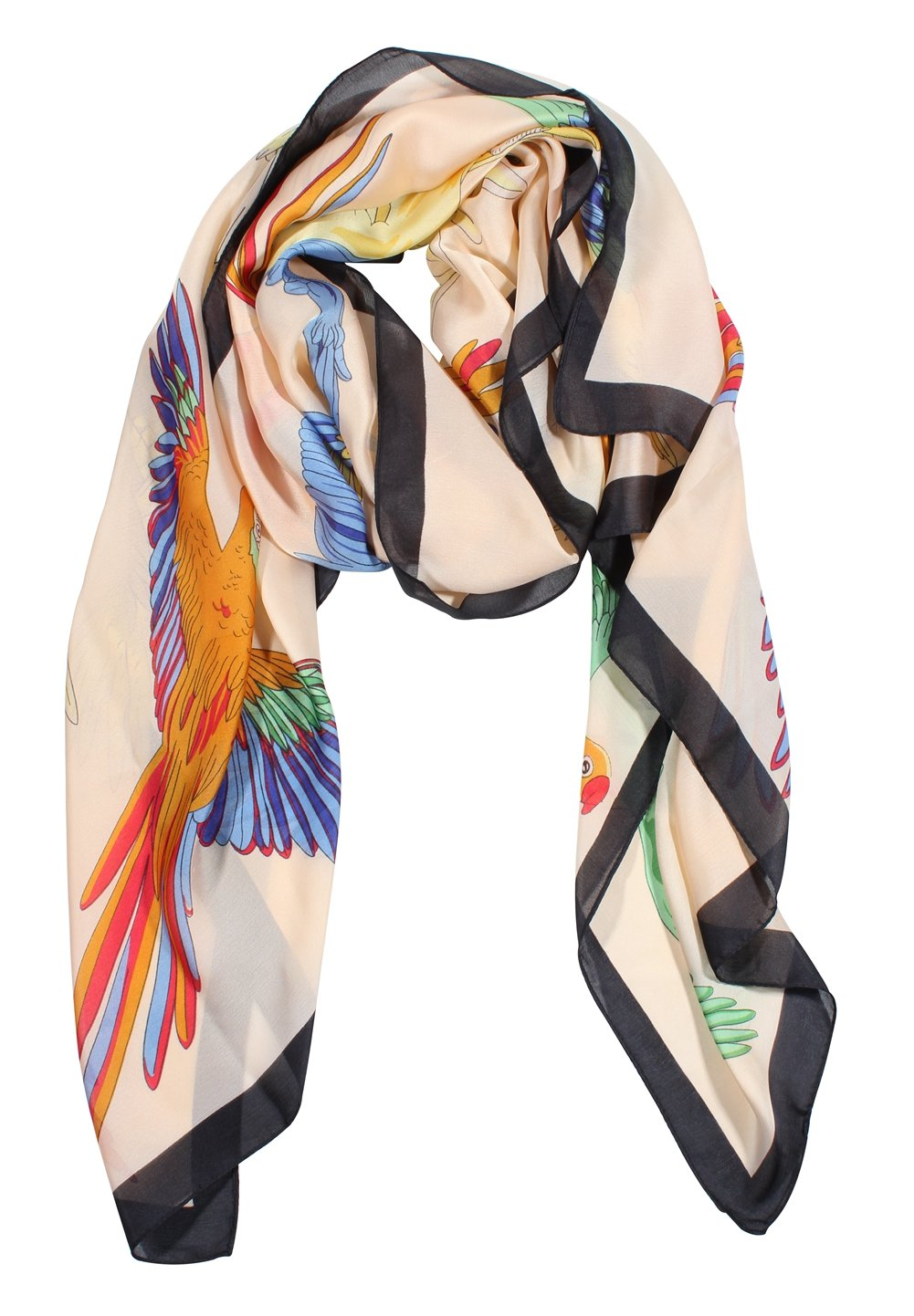 Jaweaver Scarf for Women Large Satin Silk Feeling Beach Sunscreen Shawls Wrap (Brids Beige)