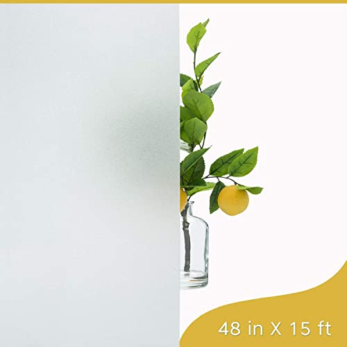 WindoDeco Frosted Matte Decorative Privacy Window Film Non-Adhesive Static Cling for Bathroom Office Home Glass Door Heat Control UV Protection Frosted White 48 in x 15 ft