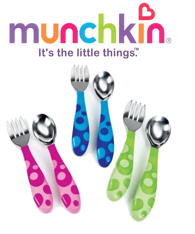 Munchkin Toddler Fork & Spoon Set Age12 Months BPA Free (Pink)
