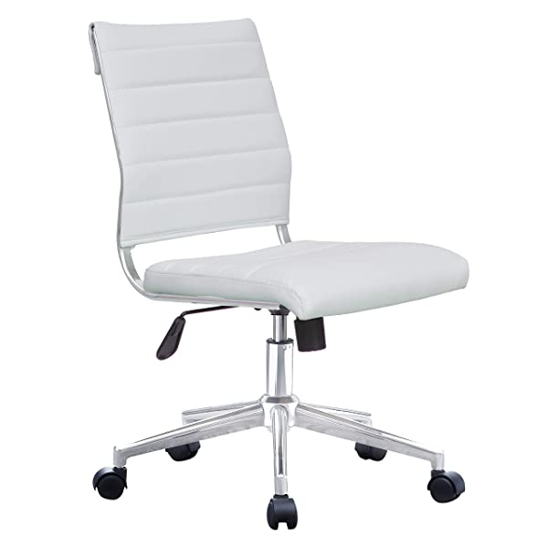 2xhome Modern Ergonomic Executive Mid Back PU Leather No Arms Rest Tilt Adjustable Height Wheels Cushion Lumbar Support Swivel Office Chair Conference Room Home Task Desk Armless (White)