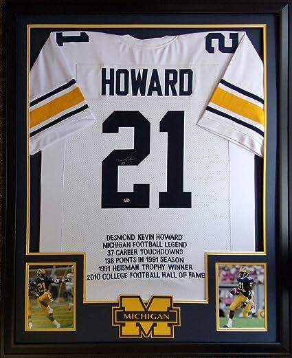 50c27997c Desmond Howard Michigan Wolverines Signed Autograph Custom Framed White  Stat Jersey GTSM Certified