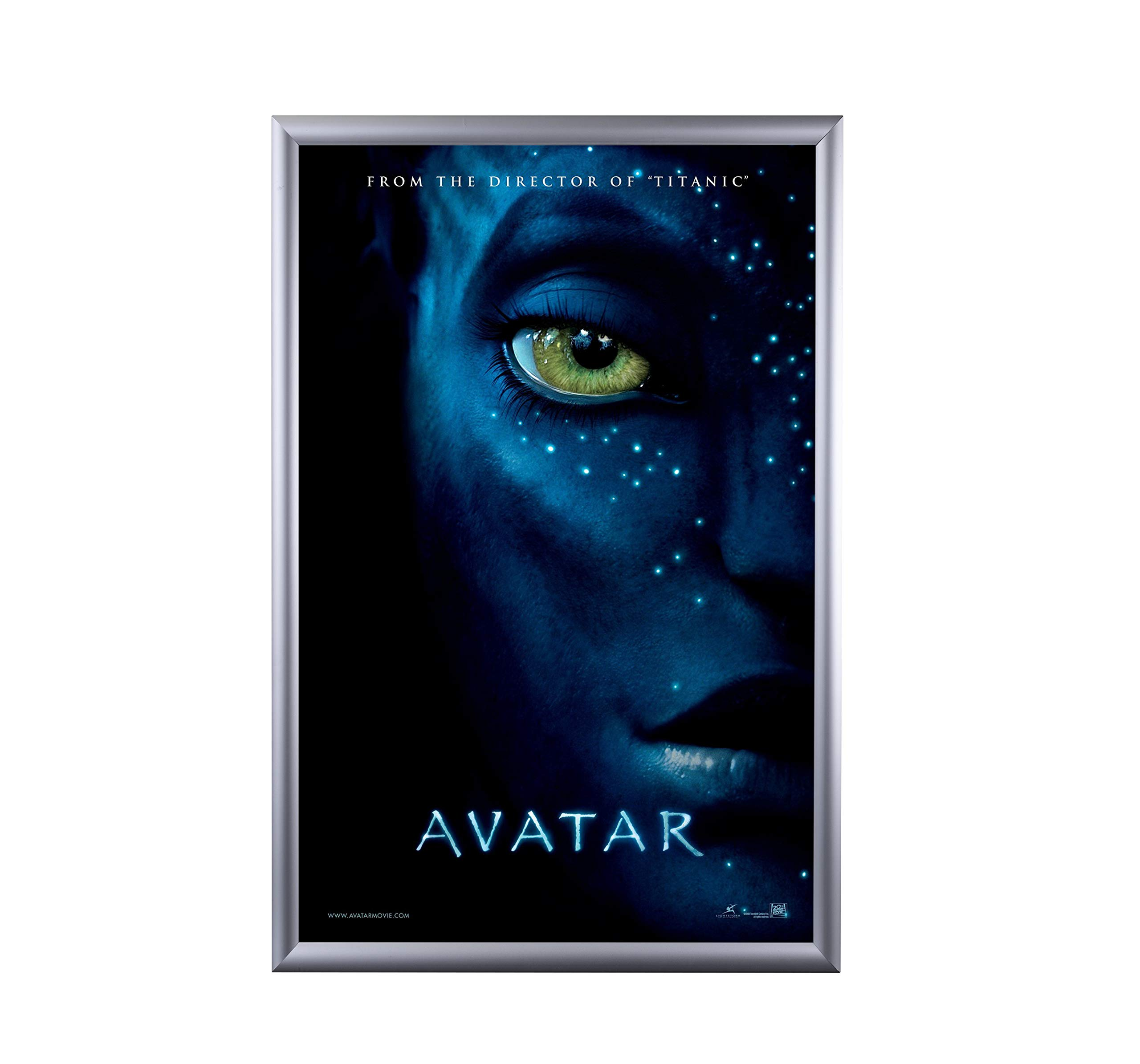 BNV Movie Poster Frame 24x36 Inches, Silver 1'' Aluminum Profile,Front Load Snap Frame, Wall Mounting, Portrait and Landscape Mode, Easy Installation, Anti-Glare, PVC Cover, Lightweight