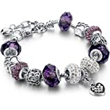 Long Way Silver Plated Snake Chain Purple Glass Crystal Beads Heart Charm Bracelet for Women ¡­
