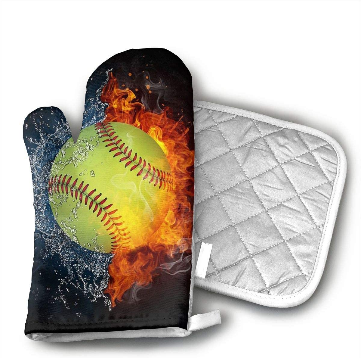 TMVFPYR Baseball On Fire Oven Mitts, Non-Slip Silicone Oven Mitts, Extra Long Kitchen Mitts, Heat Resistant to 500Fahrenheit Degrees Kitchen Oven Gloves