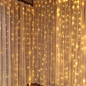 dliuz ul safe 304 led 9 8feet connectable curtain lights icicle lights fairy string lights with 8 modes for wedding party family patio lawn