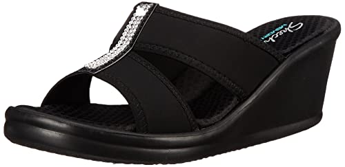 Skechers Cali Women's Rumblers Risk Taker Wedge Sandal, Black, 8.5 M US