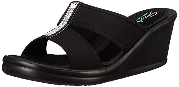 Skechers Women's Rumblers 2 Strap Slide Wedge Sandal,Black,8 M US