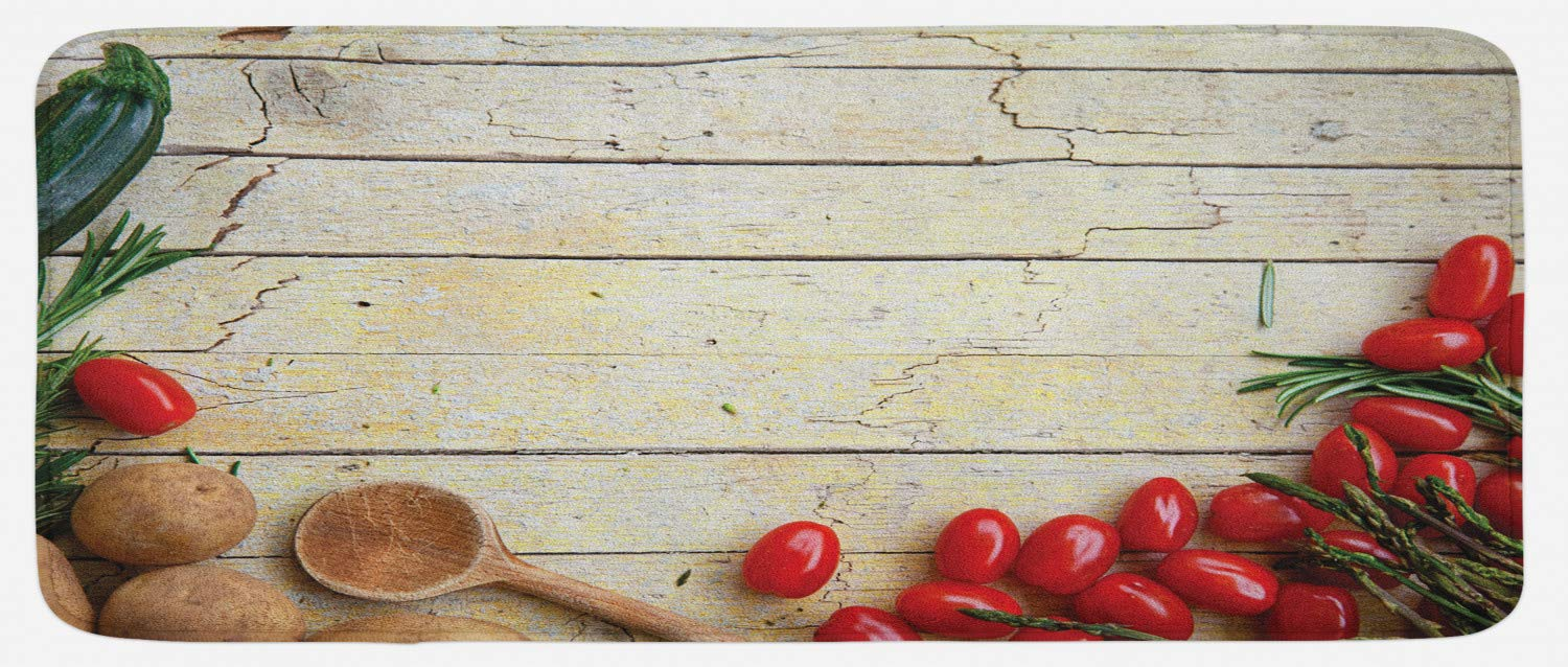 Lunarable Rustic Kitchen Mat, Cooking Vegetables Theme Recipe Chef Rustic Wood Planks Utensil Artwork Image, Plush Decorative Kitchen Mat with Non Slip Backing, 47 W X 19 L Inches, Brown Red Green