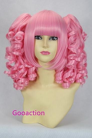 Amazon Com Pink Doll Lolita Medium Pink Curly Wavy Bang With Two