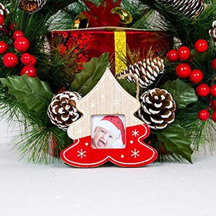 catnew hanging wooden photo frame christmas tree ornament album box party decoration red christmas tree