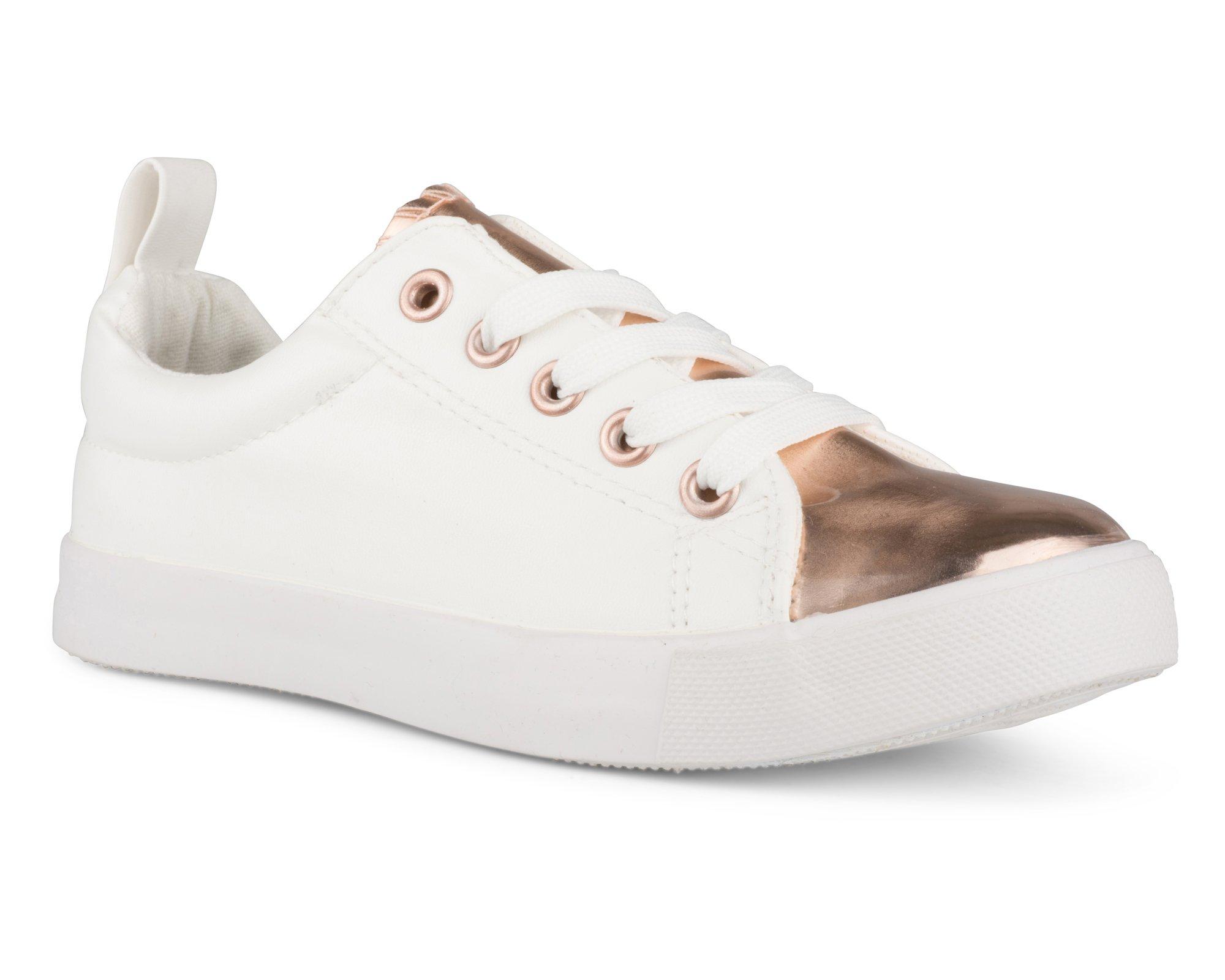 Twisted Girl's Faux Leather and Metallic Sneaker - KIXLO240AKWHITE, Size 13