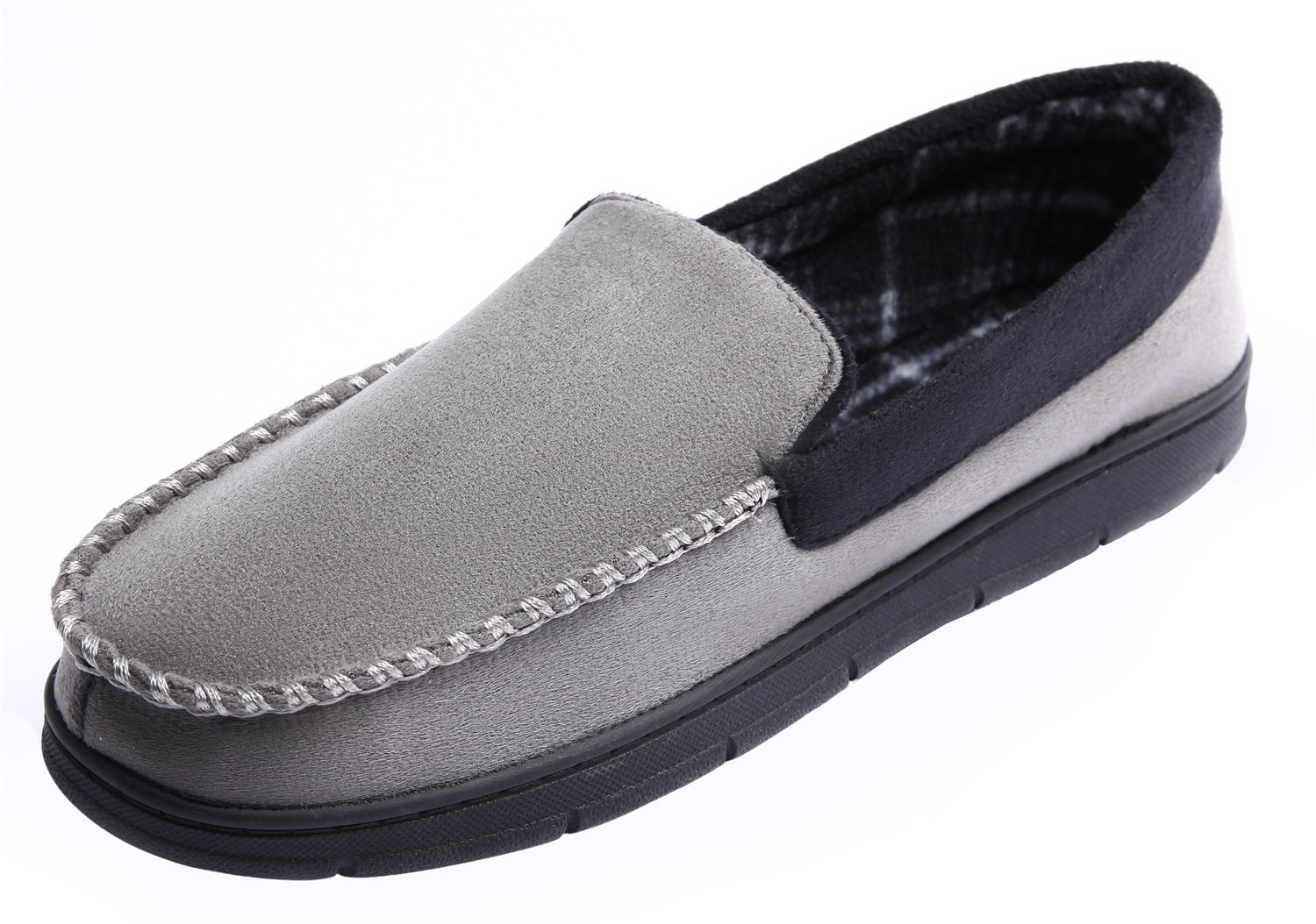 CareBey Men's Comfortable Flats Indoor Outdoor Moccasins Slippers Grey & Black US 11-12 M by CareBey