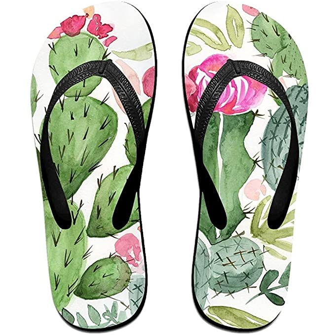bf5c938ed Image Unavailable. Image not available for. Color  Starphilad Unisex Summer  Cactus Watercolor Beach Slippers Home Flip-Flop Flat Thong Sandal Shoes