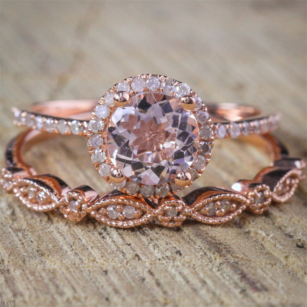 Rose Gold Diamond Set Zircon L...