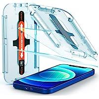 Spigen Glas.tR EZ Fit Screenprotector compatibel met iPhone 12, iPhone 12 Pro, 2 stuks, met sjabloon voor installatie…