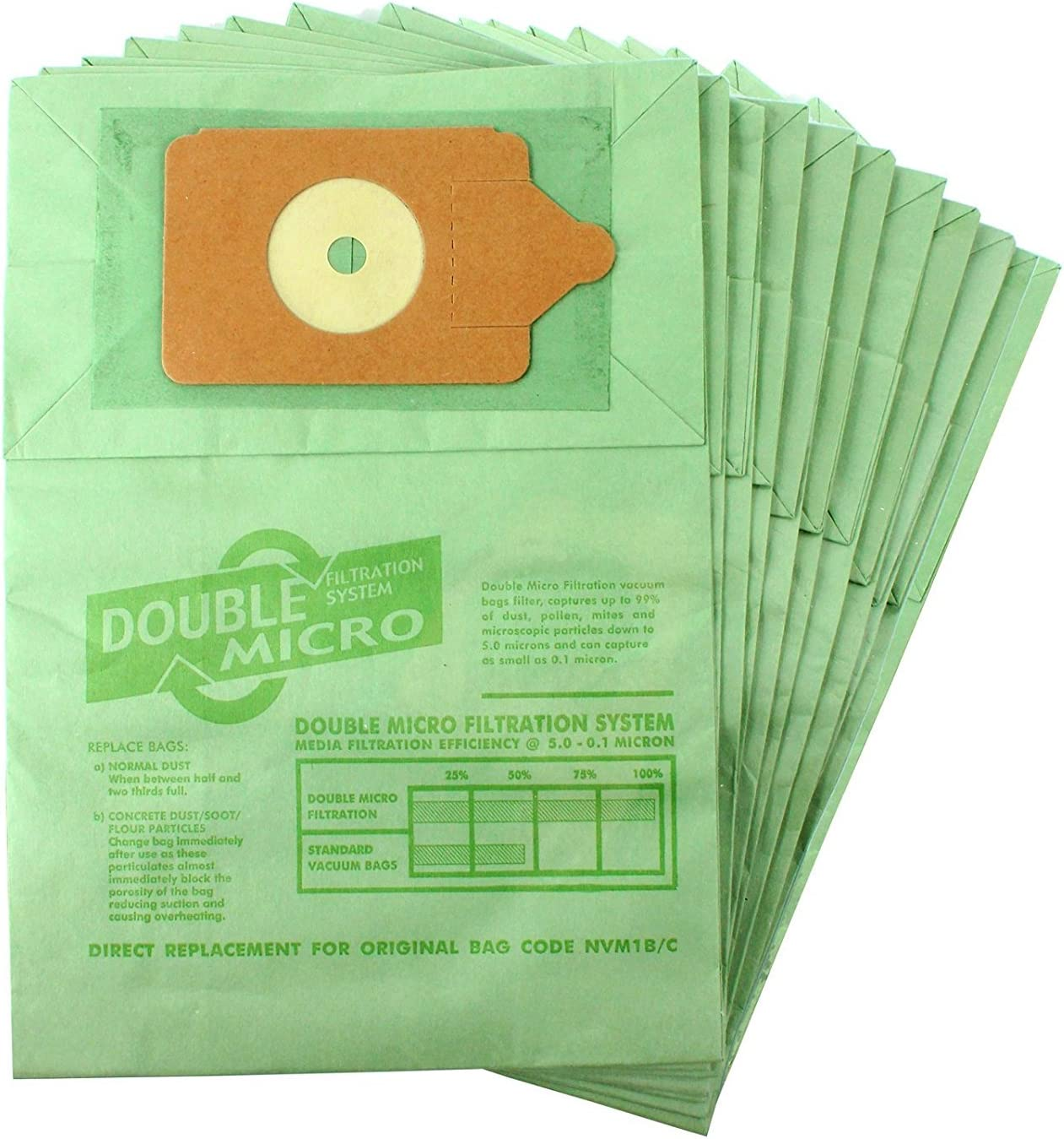 FITS HENRY HOOVER GREEN VACUUM CLEANER DUST BAG 10 PACK