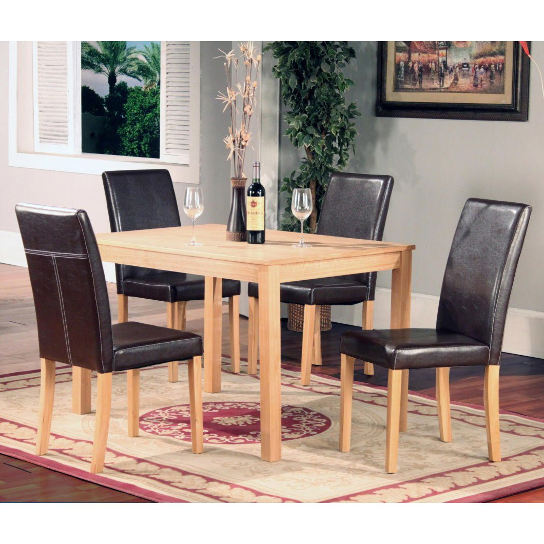 OAKDEN 5 PCS OAK DINING TABLE AND 4 X BLACK FAUX LEATHER HIGH BACK CHAIR SET  WOOD: Amazon.co.uk: Kitchen U0026 Home