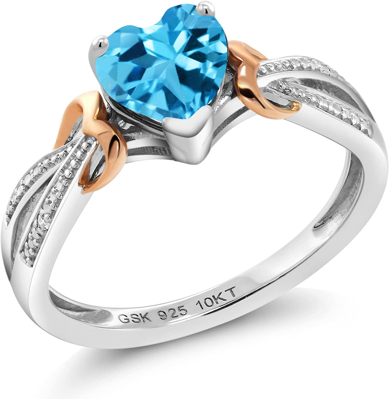 Topaz Ring Women Topaz Jewelry Natural Swiss Blue Topaz Gemstone Ring Rose Gold Ring Sterling Silver Ring 8*8mm Round Cut Blue Gemstone