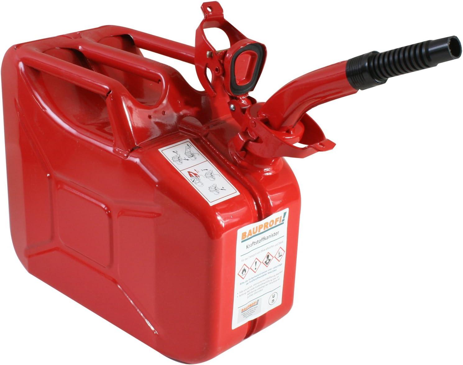 Stahlblechkanister Rot 10 Liter Auslaufrohr Flexibel Benzinkanister Kanister Auto