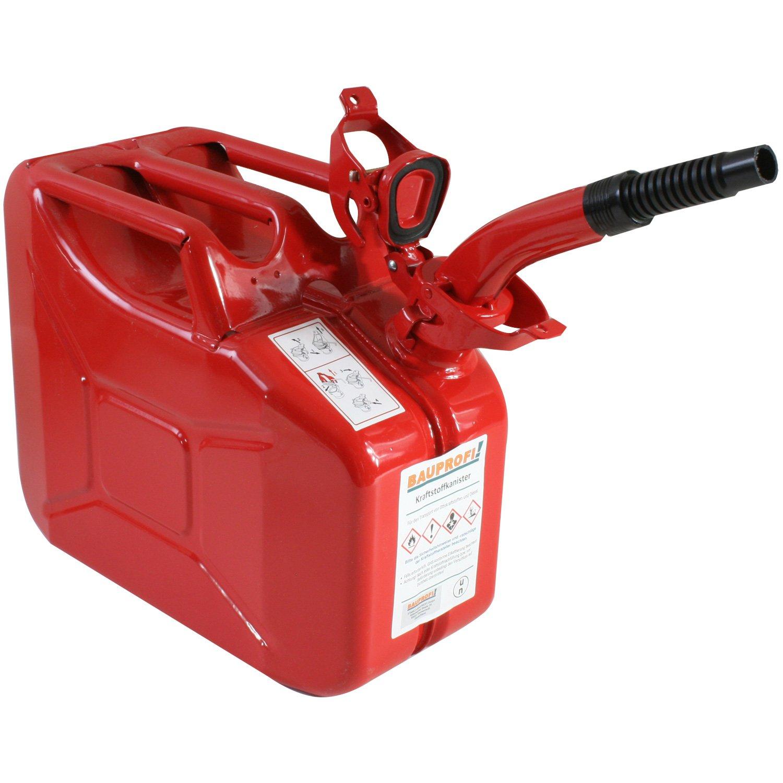 Stahlblechkanister rot 10 Liter + Auslaufrohr flexibel Benzinkanister Kanister BAUPROFI