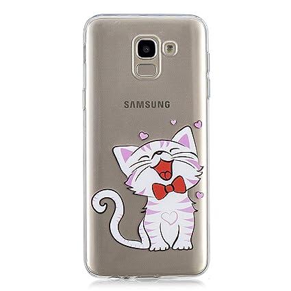 28288812752 Funluna Funda Samsung Galaxy J6 2018, Gato de Risa Diseño Cubierta de  Silicona Gel Case