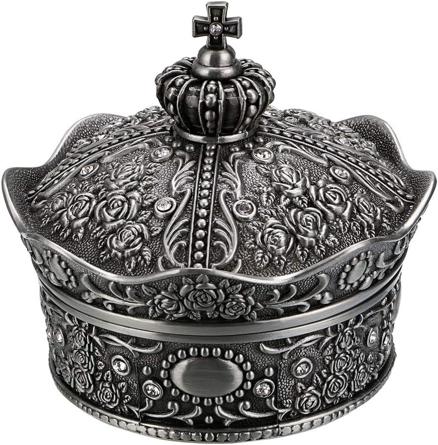Hipiwe Vintage Jewelry Box, Antique Crown Design Trinket Treasure Chest Storage Organizer,Metal Earrings/Necklace/Ring Holder Case, Keepsake Giftb Box for Girls Women (Medium)