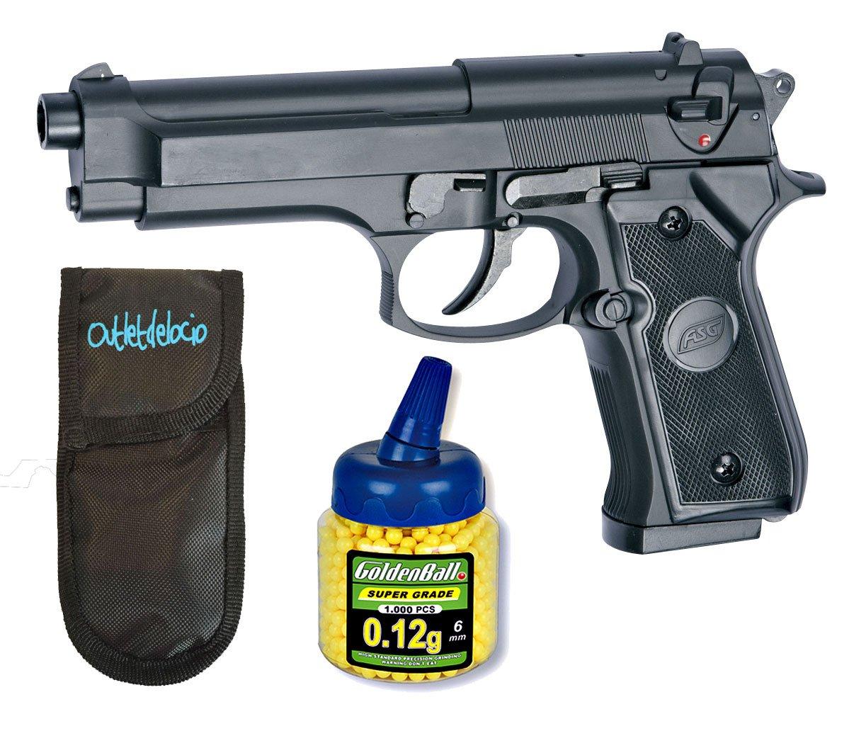 Pack Pistola airsoft M92 negra. Calibre 6mm. + Funda portabalines + Biberon 1000 bolas. 23054/21993 ASG