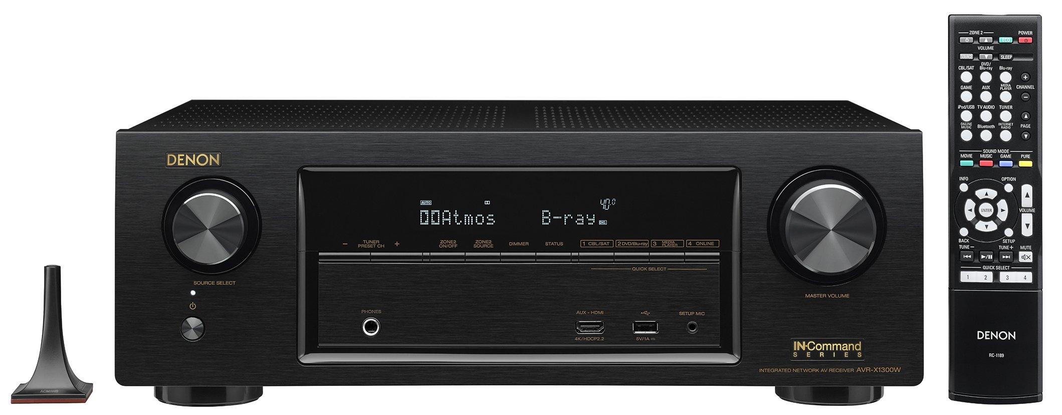 Denon AVR-X1300W 7.2 Channel Full 4K Ultra HD AV Receiver with Bluetooth by Denon