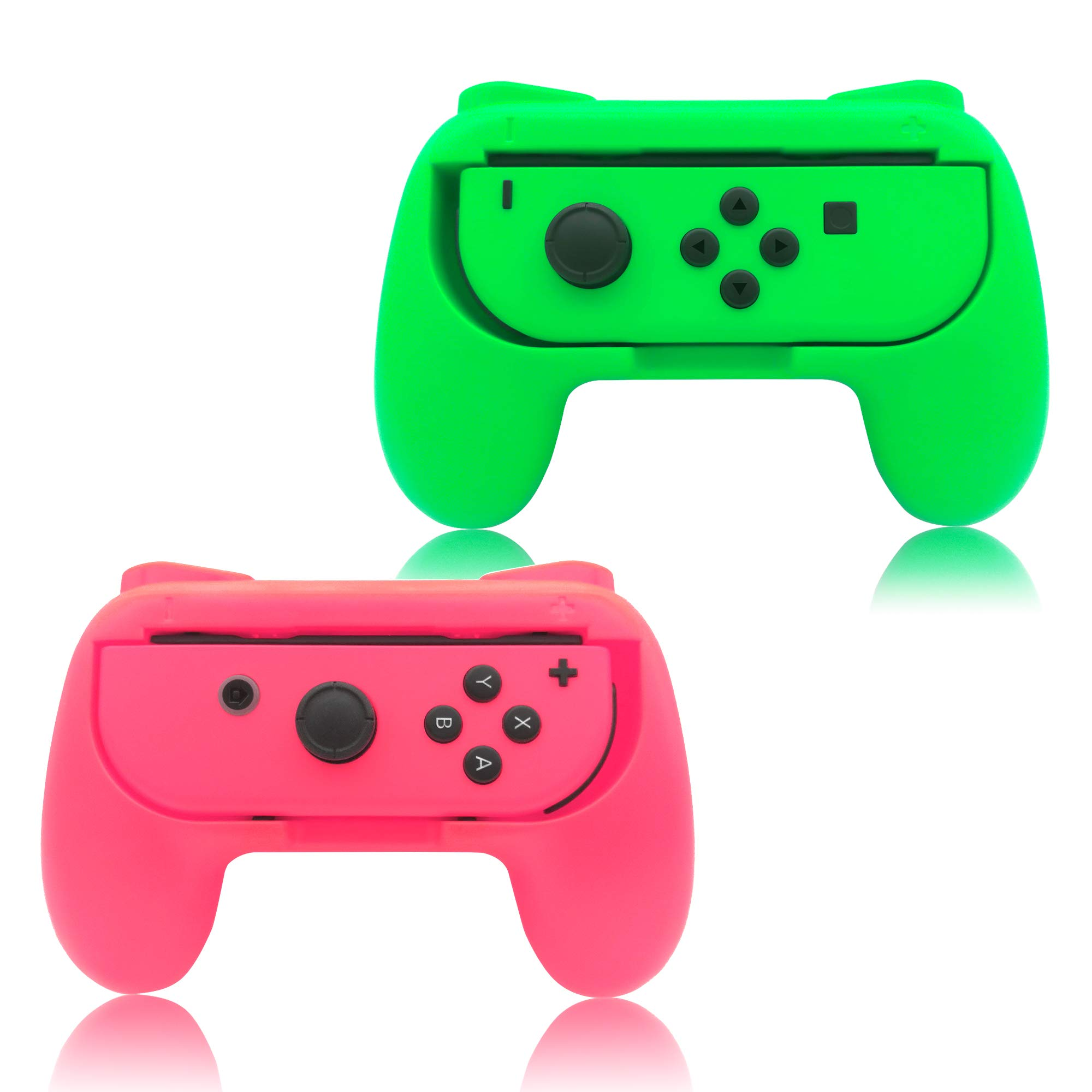 Grips for Nintendo Switch Joy-Con,FYOUNG Controllers for Nintendo Switch Joy Con - Green and Pink (2 Packs) by FYOUNG